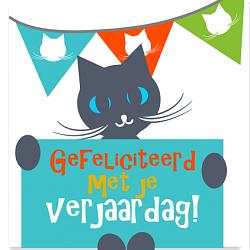 Verjaardagskaart gefeliciteerd kat